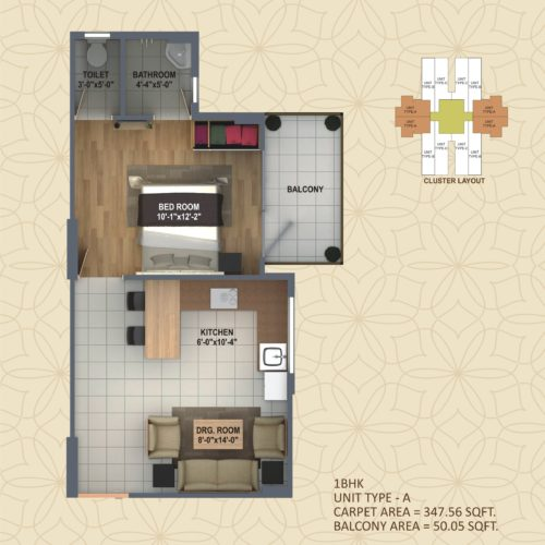 1 BHK  UNIT TYPE - A