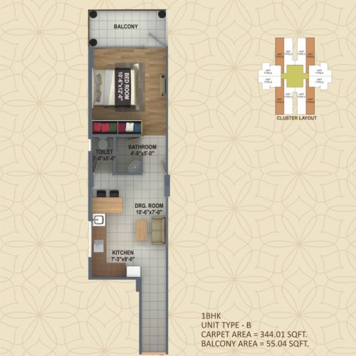 1 BHK  UNIT TYPE - B