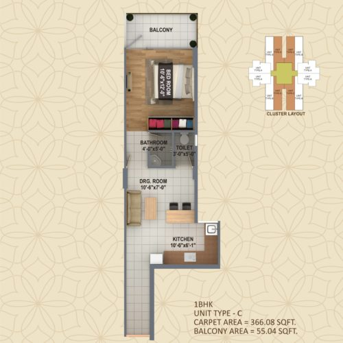 1 BHK  UNIT TYPE - C